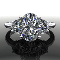 Forever Brilliant Moissanite Oval and Half Moon Three Stone Engagement Ring 2.56 CTW