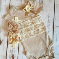 Baby Girl Gift Set, Newborn BodySuit, Baby Onesuit, Baby Headband, Baby Gift, Newborn, Tea Dyed, Vintage Style, Lace, Photo Shoot