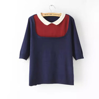 Block Sleeve Collared Knitted Shirt
