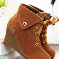 New Khaki Round Toe Wedges Metal Decoration Cross Strap Fashion Ankle Boots