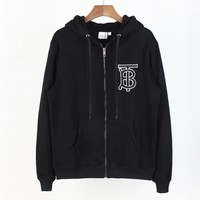 Burberry New fashion embroidery letter hooded long sleeve top sweater Black