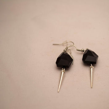 Black Edgy Nugget Beads & Spikes Earrings