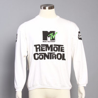80s MTV Remote Control SWEATSHIRT / New With Tags Logo Print Crew Neck L