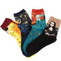 Field4U 4 Pairs Casual Cotton Fashion Crew Socks, Painting Colors, One Size