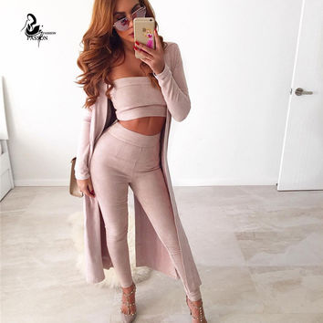 Women sexy wrepped chest and full legtgh pants Suede 2 piece set bandage  sleeveless solid  tight elegant club 2 pcs suit