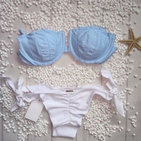 Fashion Solid Color Shell Ruffle Knotted Bikini Set Swimsuit Swimwear