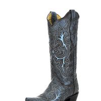Corral Women's Black-Grey/Turquoise Embroidery Boot - A2792