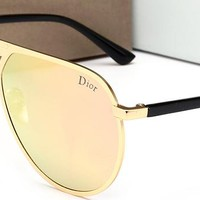 DIOR Women Men Fashion  Popular Summer Sun Shades Eyeglasses Glasses Sunglasses Golden/Pink G-HWYMSH-YJ