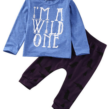 2PCS Baby Set!!Toddler Kids Baby Boy Girl Clothes Casual Autumn Cotton Letter T-shirt+Long Print Pants Baby Clothes Outfits Set