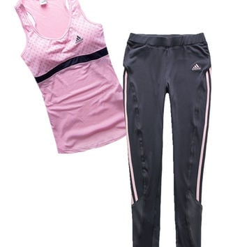 Trendsetter Adidas Woman Gym Sport Yoga Embroidery Print Vest Tank Top Cami Pants Trousers Set Two-Piece Sportswear