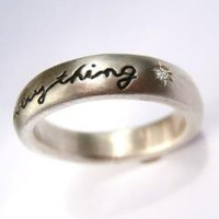 Pablo Valencia- Love Conquers Everything Sterling Silver and Diamond Engraved Ring