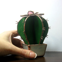 Stained glass decor/Cactus in a pot/Home decor art glass