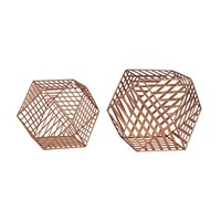 Copper Metallic Wire Dodecahedron Copper Leaf