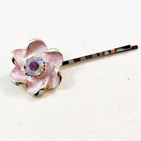 Pink rhinestone hair pin, pink flower hair pin, rhinestone bobby pin, flower bobby pin, flower hair clip, rhinestone hair clip