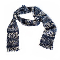 Blue floral long Scarf, 10 Gift for Coworker, Birthday gift for Teachers, Paisley Winter neck Scarf,
