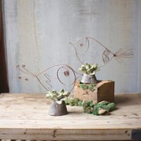 Set Of 2 Copper Finish Birds On Clay Leaf Bases
