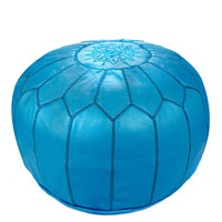 Moroccan Leather Pouf, Blue