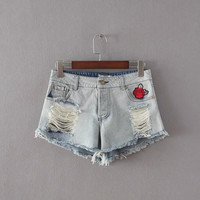 Stylish Embroidery Rinsed Denim Ripped Holes Denim Shorts [6034258177]