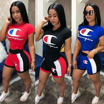 CHAMPION Womens Two Piece T-Shirt and Short Set Clothing L5358