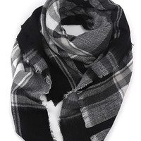 Black Tartan Plaid Soft Chunky Scarf