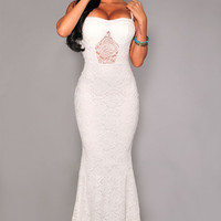 White Spaghetti Strap Lace Fishtail Bodycon Maxi Dress