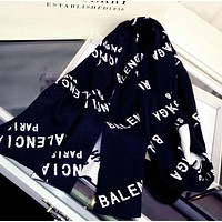 BALENCIAGA Autumn Winter Newest Popular Woman Men Easy To Match Cashmere Cape Scarf Accessories Black