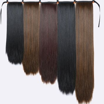 Xnaira Fake Hair Pieces  Afro Long Straight Drawstring Ponytail Synthetic Hair Bun Pony Tail Clip in Hair Ponytail Extensions