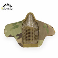 Hot Half Lower Face Metal Steel Net Mesh Hunting Tactical Protective Airsoft Mask CS Hunting Halloween Party Half Face Mask
