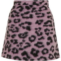Fluffy Animal Patterned A-Line Skirt - Pink