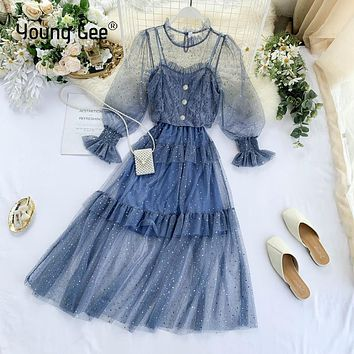 YoungGee Sequined Embroidery Party Dresses Lace Floral Vest 2 Pieces Women Vintage Mesh Flare Sleeve Elastic Waist Dress Vestido