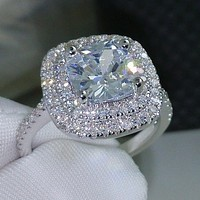 Shiny Large Square Faux Topaz Ring Women Party Banquet Costume Jewelry Decor