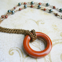 hematite and jasper, beaded chainmail necklace