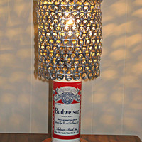 Vintage Budweiser Beer Can Lamp With Pull Tab Lampshade - The Mancave Essential