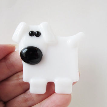 White Dog Magnet - Fused Glass Magnet - Refrigerator Magnet - Gift Under 10 - Fridge Magnet - Dog Lover Gift  - Stocking Stuffer