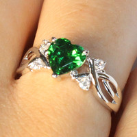Emerald Heart Shaped Ring – Green Cubic Zirconia on Hand2