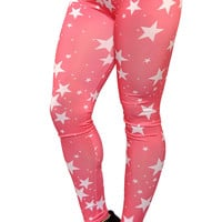 Pink with White Five Point Stars Leggings Design 385