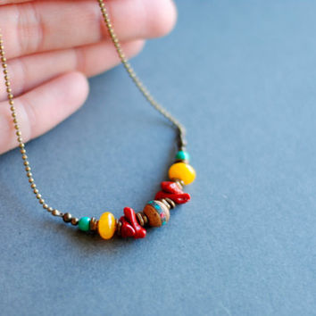 Colorful Boho Necklace // Turquoise // Amber // Coral // Bone // Tribal Style Beads // Beaded Necklace // N041 by Indigo Lunch