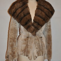 Stenciled Sheared Mink with Natural Russian Sable