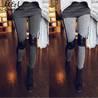 Sexy women autumn,spring Leggings PU Leather patchwork Leggings Pants women trousers Skinny stretchy pants black gray