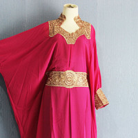 Pink Caftan Dress With Fancy Gold Embroidery, Fancy Wedding Bridesmaid Party Gathering Summer Kaftan Maxi Dress