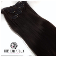 """DOUBLE SET - Thick 24"""" Inch Black Clip In Hair Extensions - 200 grams"""