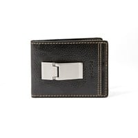 Fossil Black Leather Bradley ID Bifold Money Clip Wallet