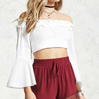 Lace Embroidered Smocked Shorts