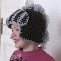 Crochet knight helmet dark gray baby hat boy hat children hat