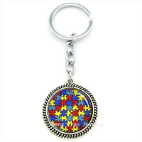 Keychain bright autism heart men and women