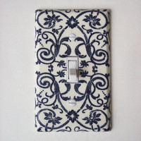 French Scroll Floral Navy & Cream Outlet Plate, Wall Decor Plug Cover
