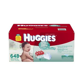 Huggies One and Done Refreshing Baby Wipes Refill, 648 Count | deviazon.com