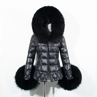 2016 New Women Winter Parkas Quality Faux Fur Cuff Hooded Thick Warm Cotton Jacket Coat Anorak Black Down For Lady Plus Size 3XL