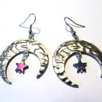 Crescent Moon Star Earrings Hoop Rainbow Chandelier Dangle Jewelry Azeetadesigns Azeeta Designs