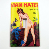 Light Switch Cover - Light Switch Plate Vintage Pulp Pin Up Girl Man Hater
